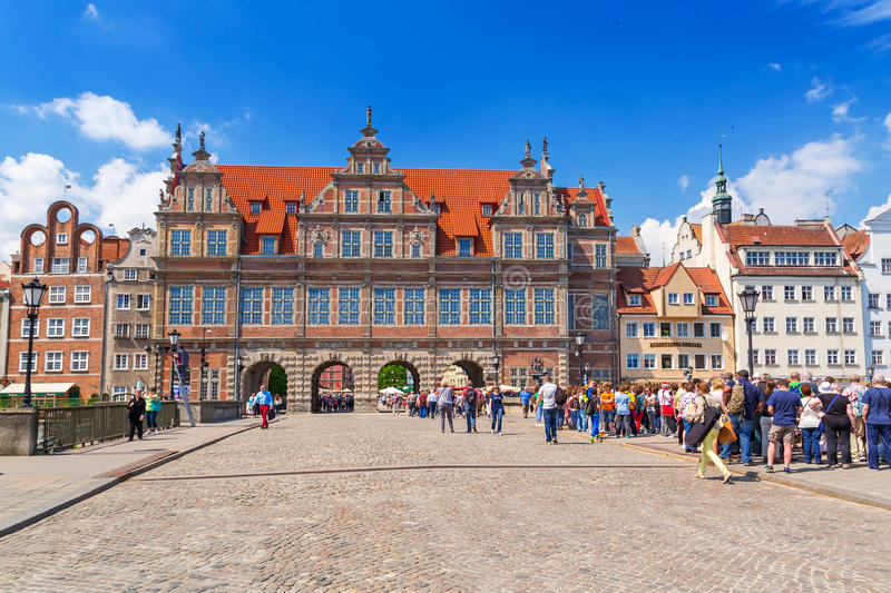 The Green Gate in the old town of Gdansk, Poland. GDANSK, POLAND - 20 MAY: The Green Gate in the old town of Gdansk on 20 May 2014. Green gate built in 16th stock image