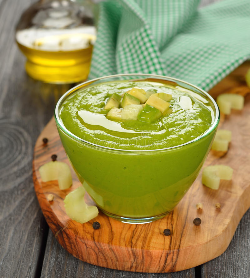 Green gazpacho royalty free stock photography