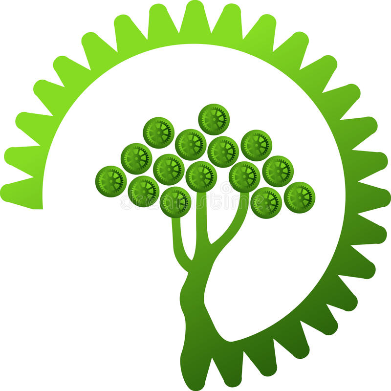Green gear tree. Illustration art of a green gear tree with isolated background stock illustration