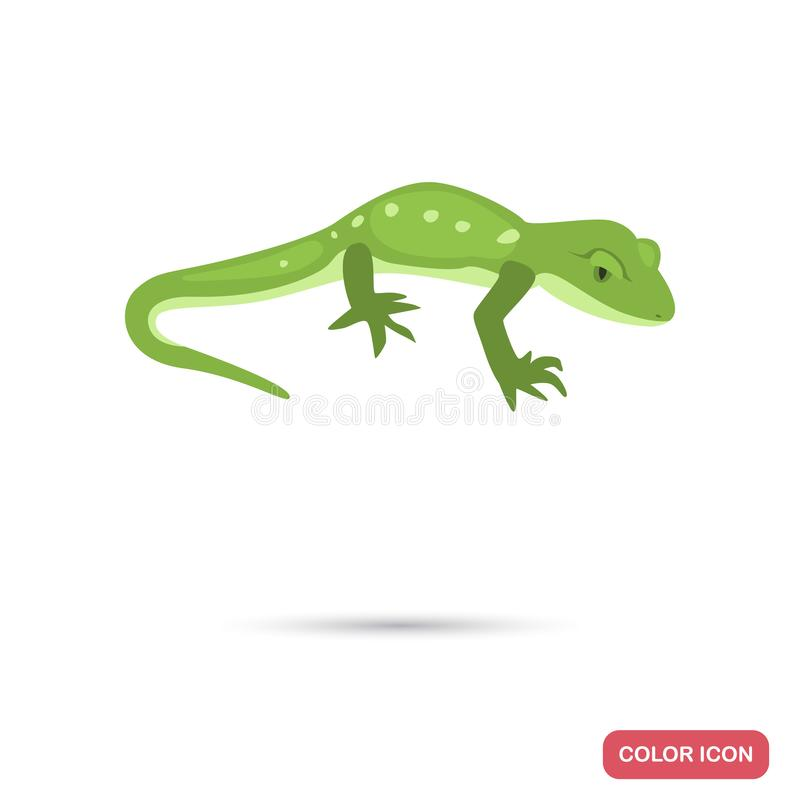Green gecko color flat icon for web and mobile design royalty free stock photo