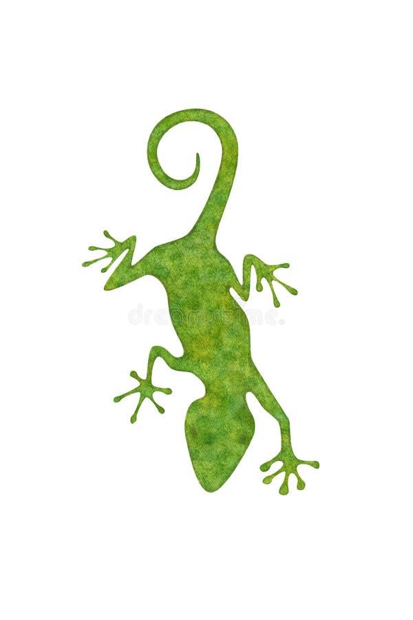 Green Gecko on white stock illustration