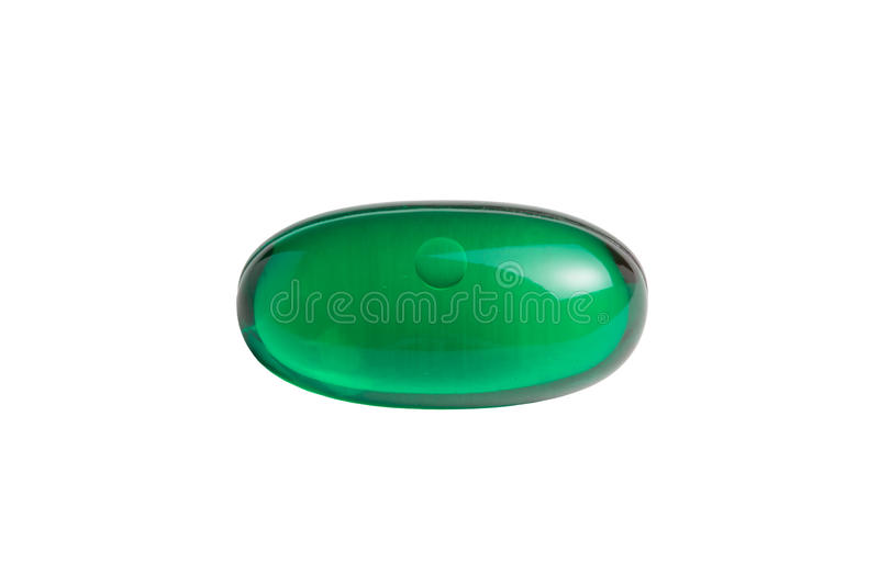 Green Gelatin Capsule Isolated on White stock images
