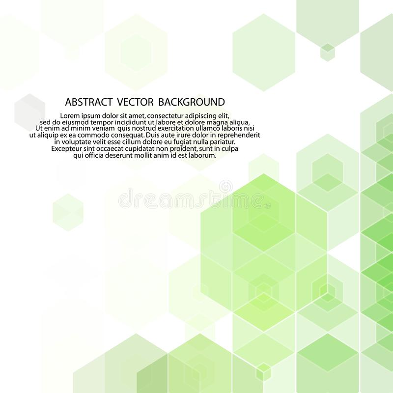 Green geometric background. hexagons design. abstract vector illustration. eps 10. Green geometric background. hexagons design polyhedrons science medicine royalty free illustration