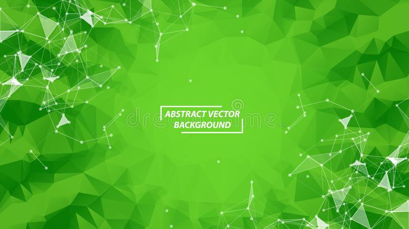 Green Geometric Polygonal background molecule and communication. Connected lines with dots. Minimalism background. Concept of the stock illustration