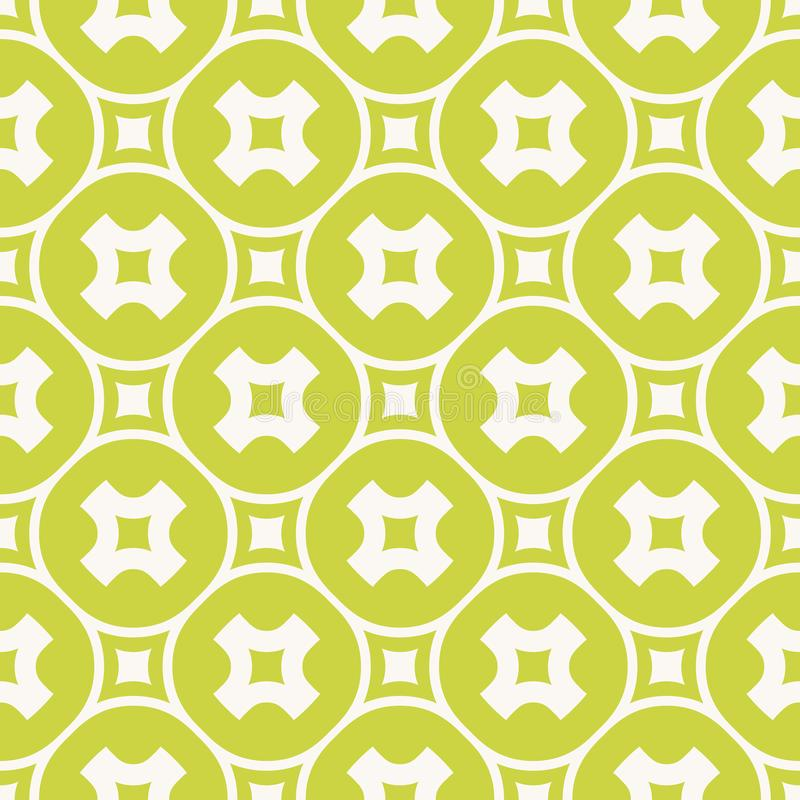 Green geometric seamless pattern. Vector abstract texture with crosses, squares royalty free illustration