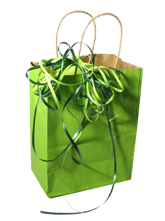 Green gift bag. On white background stock images