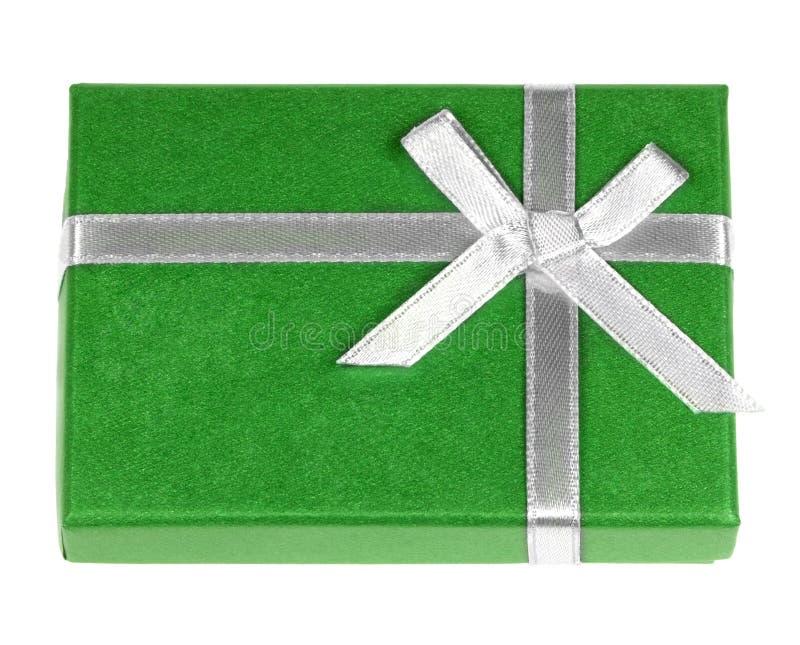 Green gift box royalty free stock photo