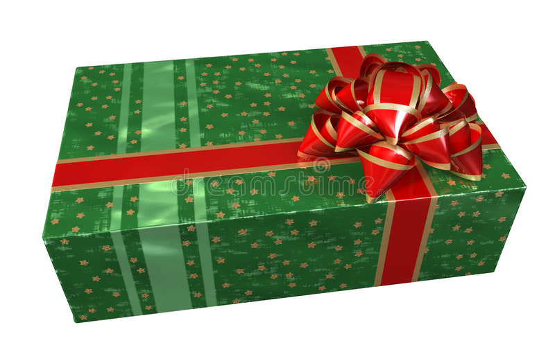 Green gift box. Gift box of green color with a red bow and tapes. It is good to pack a gift into such box. It is possible to use for registration of vector illustration