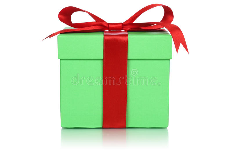 Green gift box for gifts on Christmas, birthday or Valentines da. Y isolated on a white background royalty free stock photos
