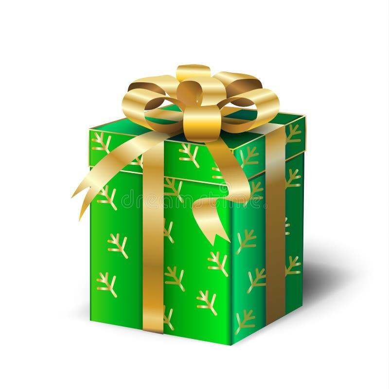 Green Gift Box gold ribbon Christmas Holiday vector illustration