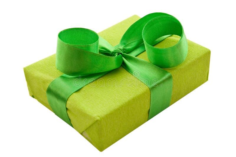 Green Gift Box with green Satin Ribbon royalty free stock images