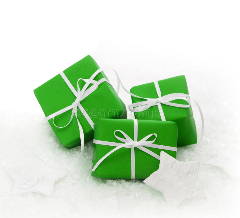 Green gift boxes wrapped for Christmas stock image