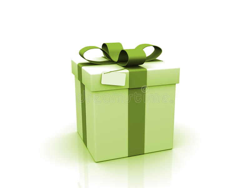 Green Gift on white background. Gift with blank card on white background stock illustration