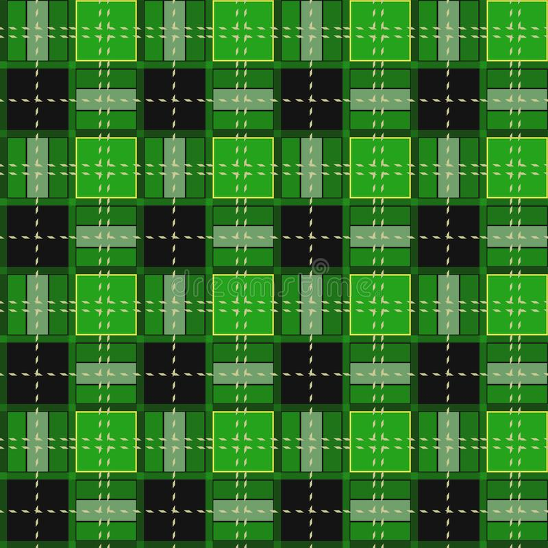 Green Gingham rhombus Buffalo Lumberjack luxury plaid tartan pattern Vector Memphis style vintage Seamless shape fun funny textile. Flanel Texture scottish royalty free illustration