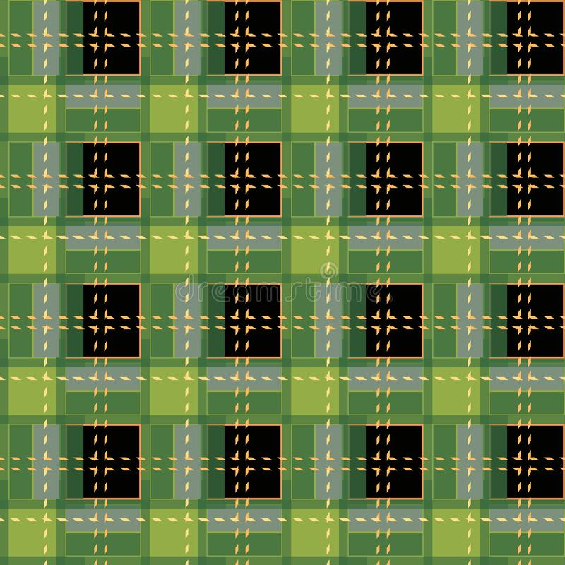 Green Gingham rhombus Buffalo Lumberjack luxury plaid tartan pattern Vector Memphis style vintage Seamless shape fun funny textile. Flanel Texture scottish vector illustration