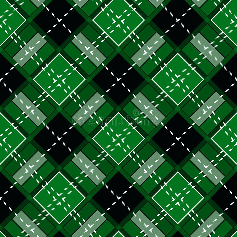 Green Gingham rhombus Buffalo Lumberjack luxury plaid tartan pattern Vector Memphis style vintage Seamless shape fun funny textile. Flanel Texture scottish stock illustration