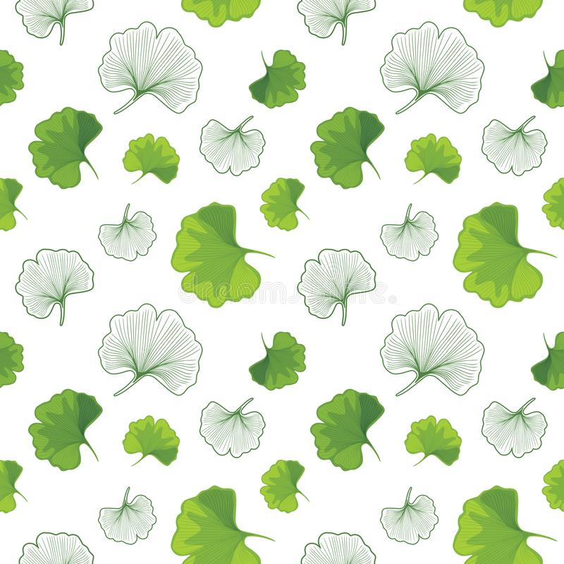 Green Ginkgo biloba and outlined leaves. Seamless pattern for design stock photo