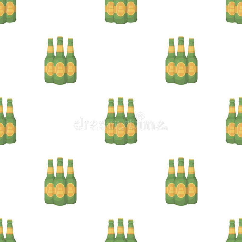 Green glass beer bottles. Alcoholic drink pub. Pub pattern icon in cartoon style vector symbol stock illustration. stock illustration