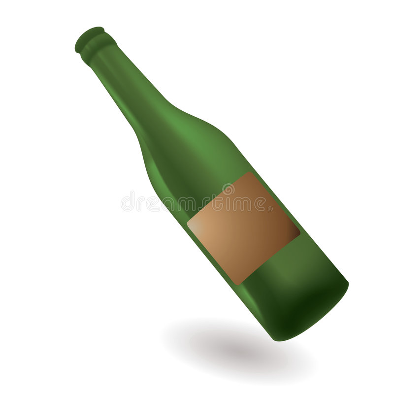 Green glass bottle. With blank label with shadow stock illustration