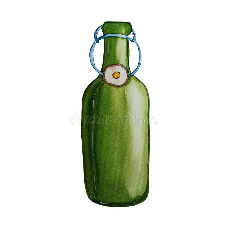 Green glass bottle of beer. Watercolor hand drawn illustration stock illustration