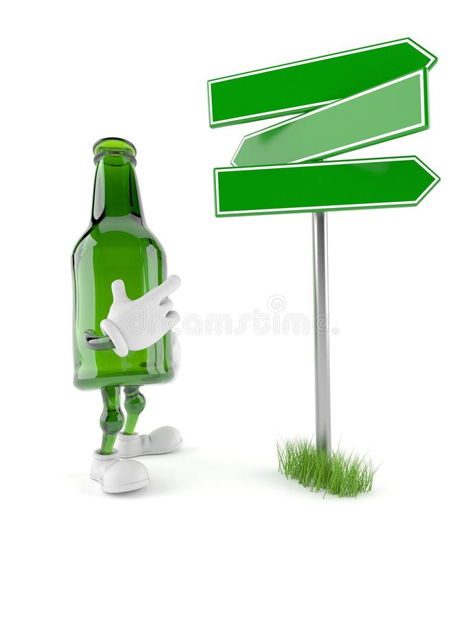 Green glass bottle character with blank signpost. Isolated on white background. 3d illustration vector illustration