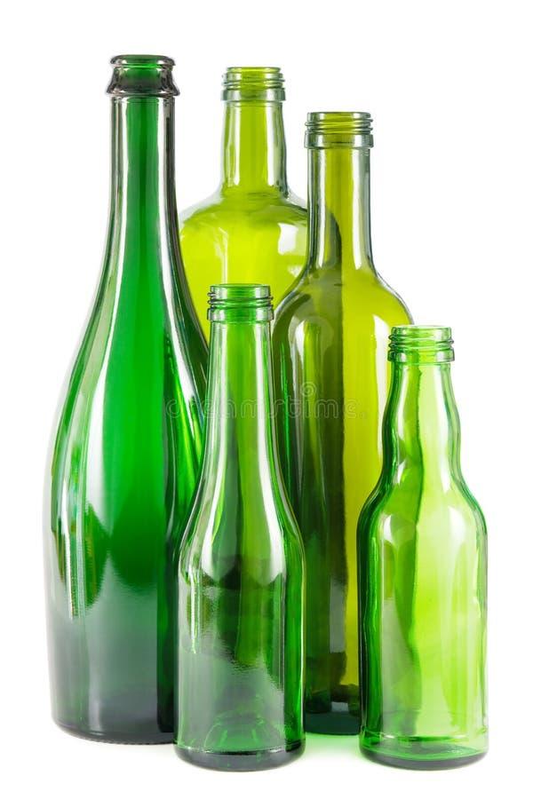 Green glass bottles royalty free stock image