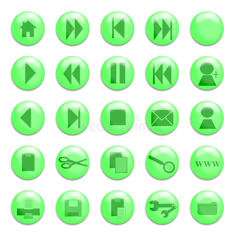 Green Glass Buttons stock illustration