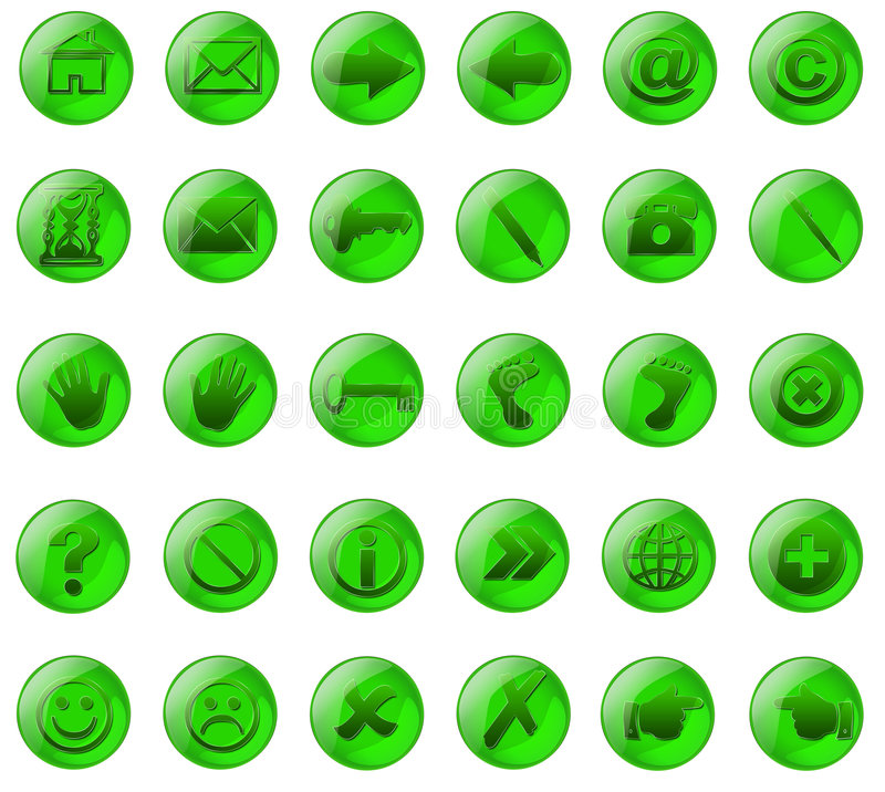 Green glass buttons royalty free stock images