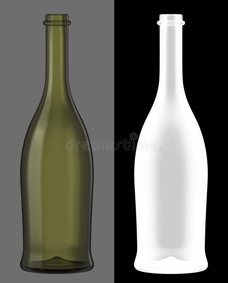 Green Glass Wine Bottle royalty free stock photos