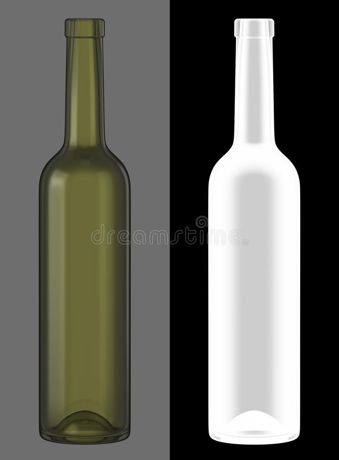 Green Glass Wine Bottle royalty free stock images