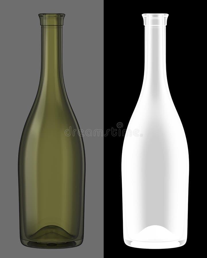 Green Glass Wine Bottle stock images