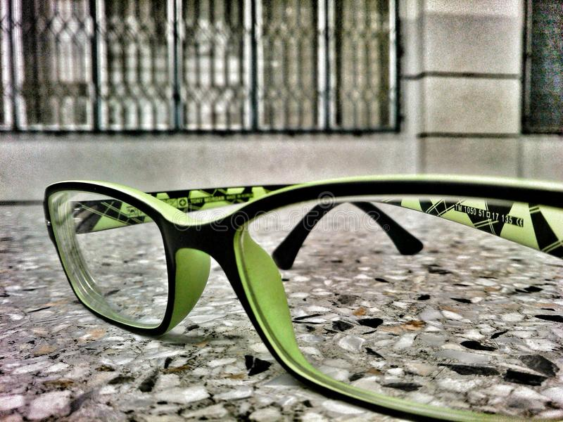 Green glasses royalty free stock photo