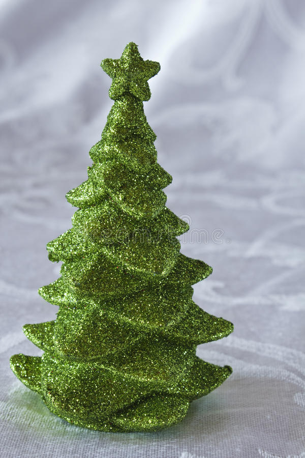 Green glitter Christmas Tree. On a white background stock photography