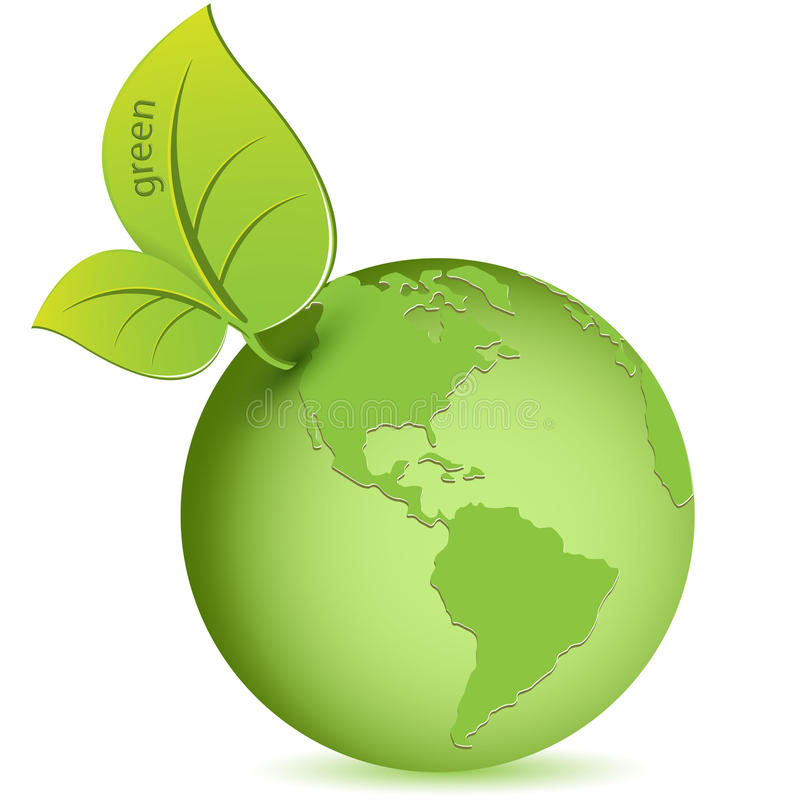 Green globe. Illustration, green globe in the manner of apple on white background royalty free illustration