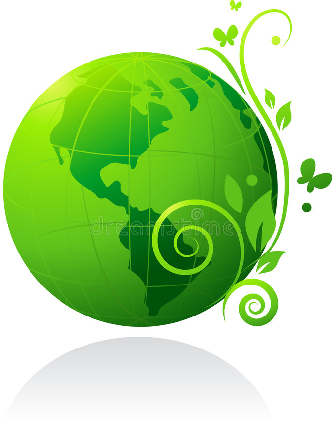 Green globe. Nature green globe with flowers and butterfly