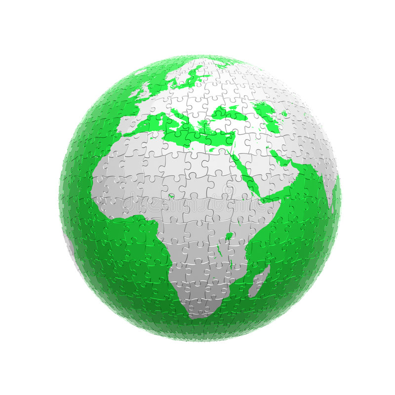 Download Green globe puzzle stock illustration. Image of piece - 4637990