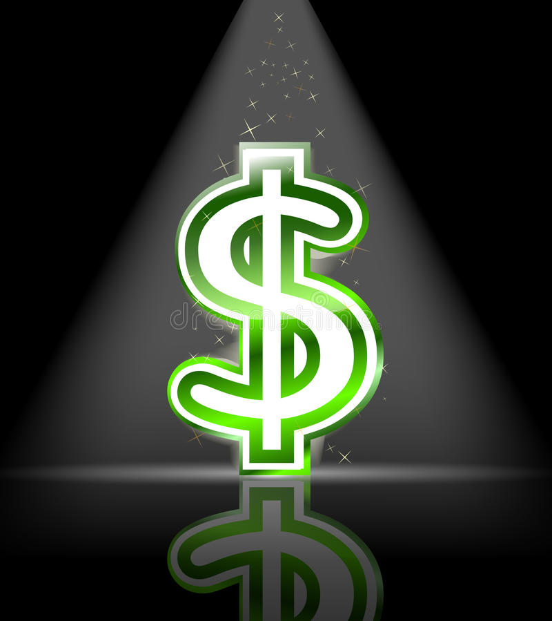 Green Glossy Dollar Sign Royalty Free Stock Photo