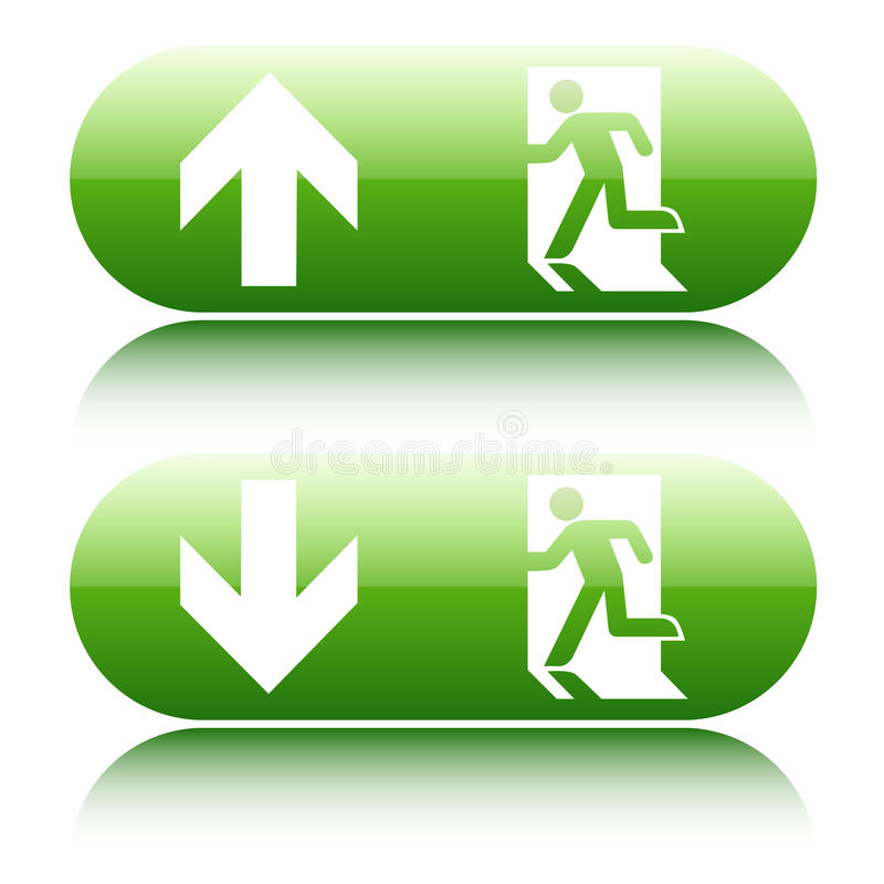 Free Green Glossy Emergency Exit Sign With Arrow Up An Royalty Free Stock Photography - 40728217