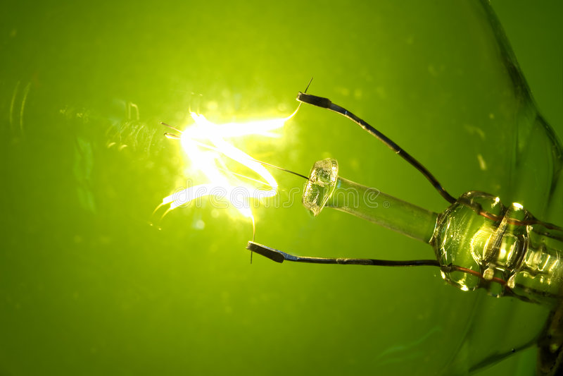 Green glow. Macro light bulb glowing on a green background