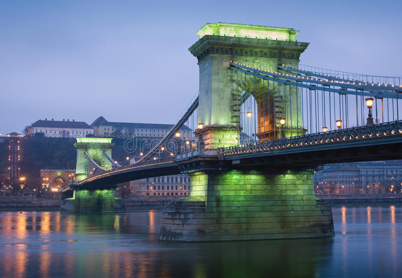 Green Glow On The Chain Bridge. Royalty Free Stock Photography