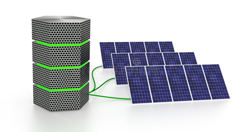 Green glowing server connected to three solar panels isolated stock illustration