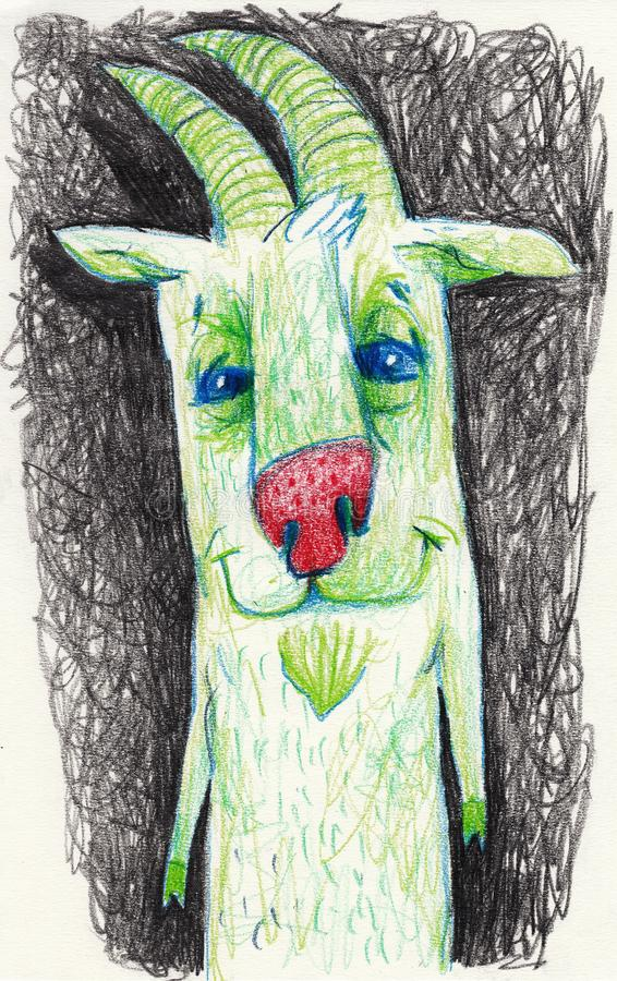 Lovely goat is green. Suitable for children`s subjects and for publications. Green goat. Lovely goat is green. Suitable for children`s subjects and for royalty free illustration