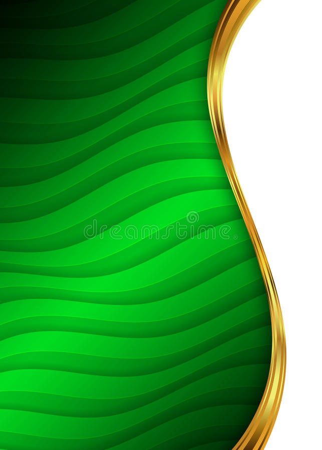 Green and gold abstract background template for website, banner, business card stock illustration