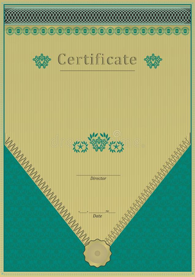 Download Green Gold Certificate Lace Texture Stock Illustration