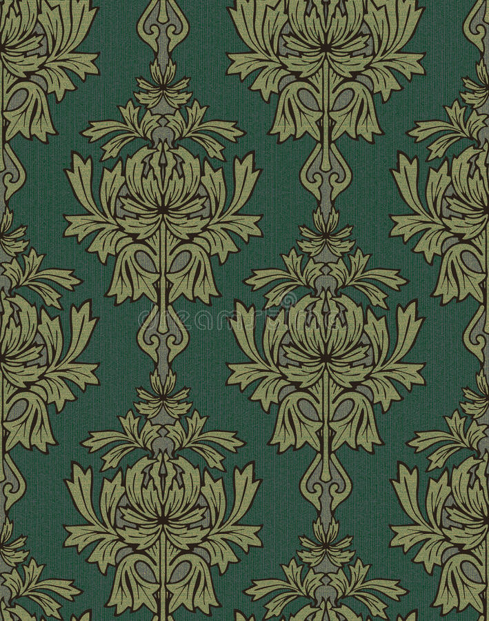 Download Green With Gold Damask Background Stock Illustration