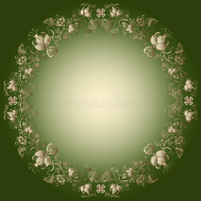 Green-gold easter frame royalty free illustration