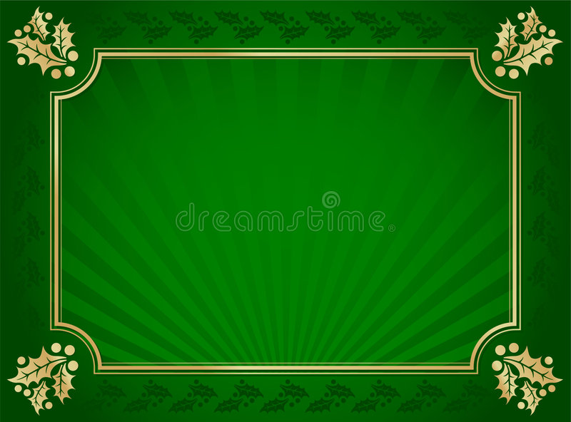 Green and Gold Elegant Holly Trimmed Background royalty free stock photo