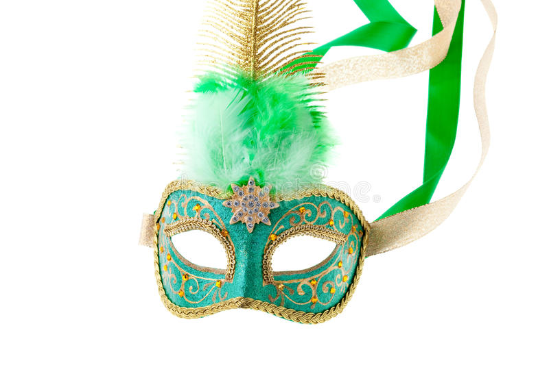 Green and gold feathered carnival mask