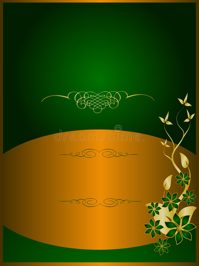 Green and Gold Floral Background vector illustration