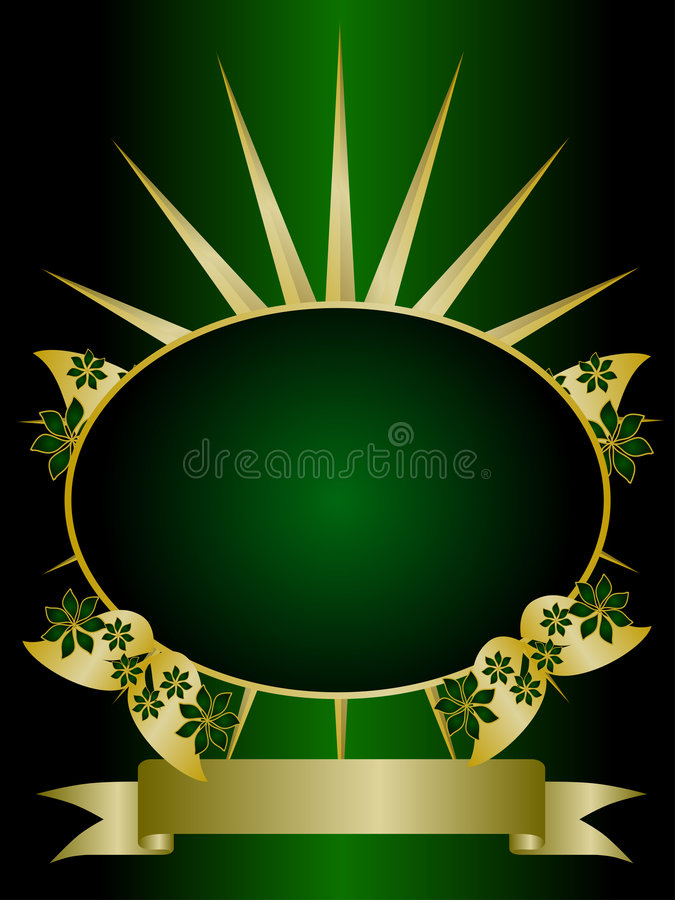 Green and Gold Floral Backround stock illustration